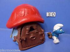 (30) Schtroumpf maison bleu toit rouge 78+ personnage 78 peyo schleich germany