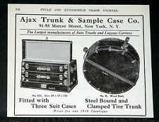 1910 OLD MAGAZINE PRINT AD, AJAX AUTOMOBILE TRUNKS, LUGGAGE & TIRE CARRIERS!