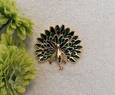 Colorful Blue Gr Gold Tone Ds3 Classic Pin Brooch Peacock Pheasant Bird Feathers