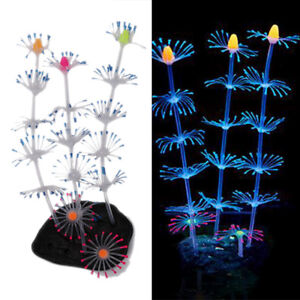 Fluorescent coral plant aquarium decoration glow in the dark fishtank ornam AJ