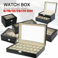 6/10/12/24 Slots Leather Watch Display Case Jewelry Organizer Collection Storage