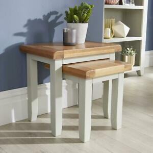 Modern Grey Painted Solid Wood Nest of 2 Side End Coffee Tables Living Room Set