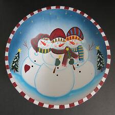 Christmas Large Decorative Snowmen Decor Wood Bowl 11.75 inch Across Fruit Bowl