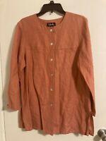 Rafaella Women's Button Up Linen Blend Tunic Shirt Blouse Top Peach Sz 10 #P1