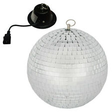 QTX 30cm Glass Mirror Ball Mirrorball + Motor DJ Disco Light Beam Lighting 2.3kg