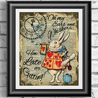 Alice in Wonderland Print, White Rabbit Quote, Wall Art, Home, Gift, Tea Party