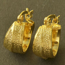 Classic 9K Yellow Gold Filled Embossed Womens Hoop Earrings