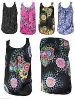 Womens New Sleeveless T Shirt Tops Size 16 - 26 Fab Prints Ladies Wear *LICK*
