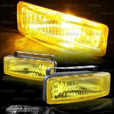 "5"" x 1.75"" Square Chrome/Yellow Bumper Fog Light Lamps+Switch+Relay Universal"