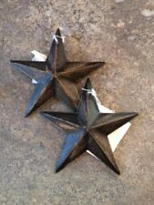 "Pair of 2 ~ DiStReSSeD BLACK BARN STARS 3.5"" PRIMITIVE RUSTIC DECOR COUNTRY"