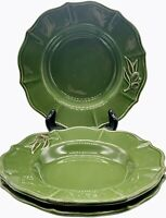 "Sur La Table Pasta Bowls Art Pottery Olive Branch Green Portugal 9""W Set of 3"