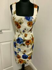 Dolce & Gabbana D&G floral roses Print pencil cotton dress IT44UK12US8EU42