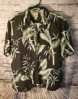 Tommy Bahama men's shirt Large Hawaiian Floral 100% Silk Short Sleeve black t7