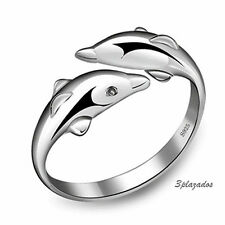 Beauty Charm  Plated Silver Double Dolphin Opening Adjustable Rings DOS