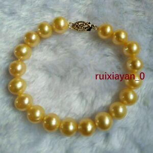 """Stunning 7.5-8"""" AAA+ 9-8mm Natural South Sea Gold Pearl Fine Bracelet 14k Gold P"""