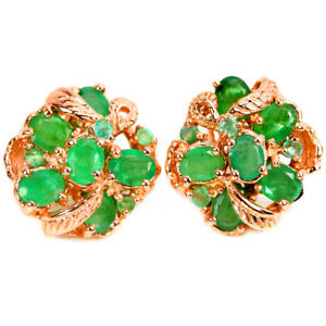 NATURAL AAA GREEN EMERALD OVAL & ROUND STERLING 925 SILVER FLOWER STUD EARRING
