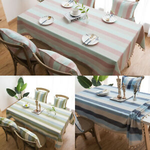 Stripe Cotton Linen Tablecloth For Dining Room Wedding Party Dinner Kitchen Deco