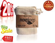 Novokeep Reusable Produce Bags - Organic Cotton Mesh Bags, Set Of 4, 10X12Inch,
