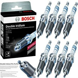 8 Bosch Double Iridium Spark Plugs For 2014-2019 GMC SIERRA 1500 V8-6.2L