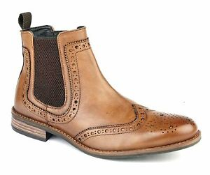 Mens Leather Upper Slip On Chelsea Twin Gusset Brogues Ankle Boots Shoes Size