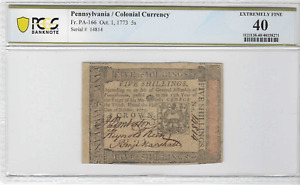 Fr. PA-166 Cot. 1,1773 Pennsylvania Colonial Currency 5s EX Fine 40