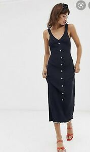 & Other Stories Navy Stretchy Midi Dress Shells Detail Size  M BNWT £59 Sold Out
