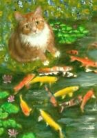 BCB Orange Tabby Cat Gold Fish Koi Pond Flowers Lily Pads Print of Painting ACEO
