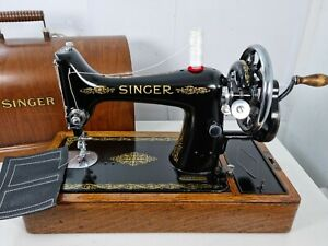 VINTAGE SINGER 99K HANDCRANK SEWING MACHINE, FULLY SERVICED for LEATHER & FABRIC