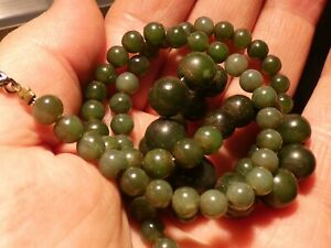 77 ANTIQUE NATURAL GREEN JADEITE BEAD NECKLACE 100 YEARS OLD RESTRUNG ON WIRE