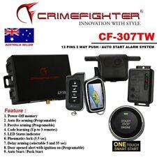 NEW CRIMEFIGHTER CF307TW 2 Way CAR ALARM SYSTEM AUTO/PUSH START