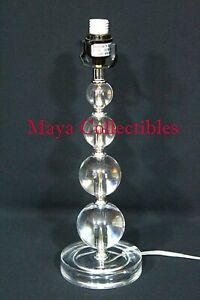 MID CENTURY LUCITE STACKING BALL TABLE LAMP CHROME & CLEAR LUCITE