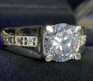 LUXE Men's Platinum Finish Engagement Ring With Round Cut Created Diamond