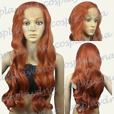 """28"""" Heat Resistant Lace Front Copper Red Curly Long Cosplay Full Wigs S350"""