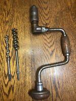 "Craftsman 10"" Ratcheting Hand Brace Tool-Auger Crank Drill-Carpenter Tool W/Bits"