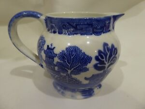 Small Vintage Allertons Blue Willow Transferware Jug Pitcher