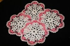 New Hand Crocheted Doily - white and french rose set of 4