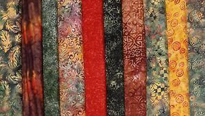 """BRACKEN Batiks Fabric Jelly Roll Strips - 10 strips 2.5"""" x 44"""""""
