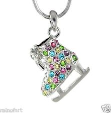 W Swarovski Crystal Charm Multi Color ICE SKATING Figure Hockey Pendant