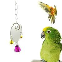 Pet toy Heart Shape Mirror hanging Bell Parrot Bird Cage Bite Decor Climb P F6N4