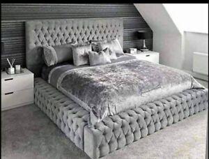 Ambasador velvet upholstered sleigh cure bed design 3ft,4.6ft,5ft,6ft