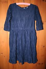 Miss Evie Girls Lovely Bright Navy Lace Dress Size 8-9 years. Great Condition