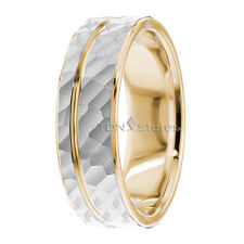 HAMMERED FINISH TWO TONE MENS & WOMENS 10K SOLID GOLD WEDDING BANDS RING HIS HER