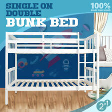 Single Bunk Bed Solid Pine Timber Frame Wooden Kids Children Bedroom Furnitur