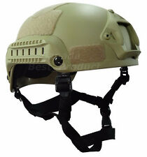Airsoft Tactical Hunting MICH 2001 Combat Helmet with Side Rail & NVG Mount DE