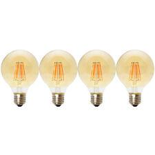4x E27 6W Nicht Dimmbar LED Vintage Filament Globusform Lampe G80 Globe 2200K