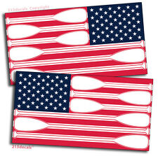 "PAIR 4"" American USA Flag Sticker Vinyl Decal SUP Paddle Board Kayak Canoe YOLO"