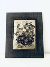"""Vintage ART PAINTING SCULPTURE 3D METAL RELIEF FRAMED Steampunk 10""""x13"""" Signed"""