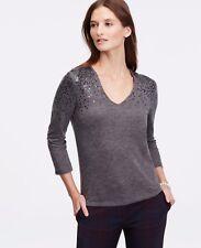 NWOT Ann Taylor Silver Lake Grey Sequin Shoulder Sweater Top, Women's Medium