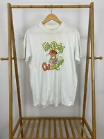RARE VTG 80s Hanes Fifty-Fifty Hey Dudes OJ Bunga Thin White T-Shirt Size L USA