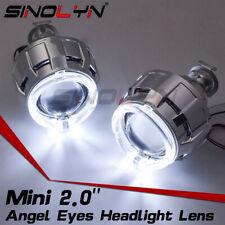 LED Angel Eyes Halo H4 H7 HID Headlight Bi-xenon Projector Lens 2.0'' Micro Mini